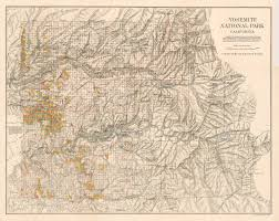 Yosemite Park Map Antique Map Of Yosemite National Park California Hjbmaps