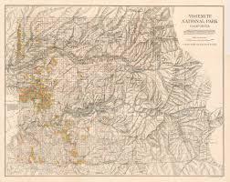 Yosemite Park Map Antique Map Of Yosemite National Park California Hjbmaps