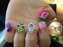 japanese 3d nail art bows hello kitty pearls rhinestones