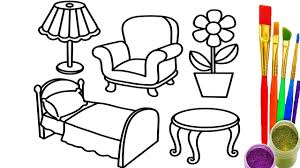 learn colors for childrens with drawing bedroom coloring pages