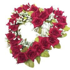 silk ribbon fashion heart shaped artificial flower wreath decor