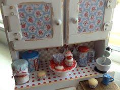 Cottage Kitchen Hutch Miniature Dollhouse Shabby Chic Kitchen Hutch Cabinet With