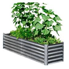Metal Planter Box by Elevated Bed Raised Garden Beds Garden Center The Home Depot