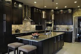 Black Backsplash Kitchen Dazzling Dark Kitchen Design Ideas With L Shape Black Kitchen
