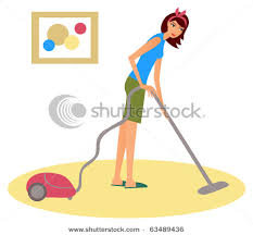 cartoon pictures of cleaning of a woman a pretty young housewife using a vacuum cleaner on