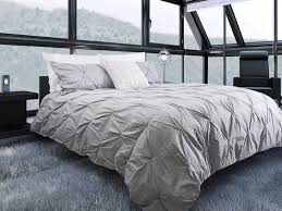 furniture grey pintuck duvet cover with white pillow and woden