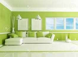 Green Living Rooms by Contemporary Green Living Room With Angle Sofa Rendering Stock