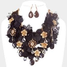 metal flower necklace images Fabric metal flower cluster vine bib necklace magical moments jpg