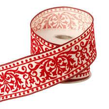 damask ribbon raz christmas conservatory 2 5 inch and white flocked damask