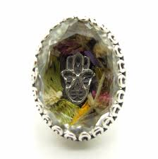 real crystal rings images Real flower ring with a hamsa hand in a clear crystal stone and JPG