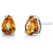 citrine earrings citrine earrings 14 karat white gold pear shape e18552 peora