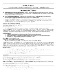 Sample Resume For Finance Executive by Example International Finance Resume Free Sample