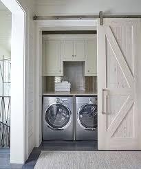 Pocket Closet Door Laundry Closet Doors A Cypress Barn Door On Rails Opens To A
