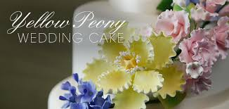 yellow peony wedding cake cakes