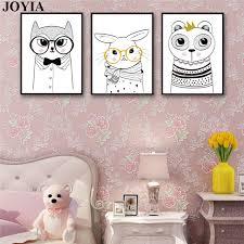 toile chambre bébé fille ours lapin lunettes mur toile affiche moderne