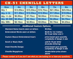 ch 51 chenille letters varsity letters letterman jacket patches