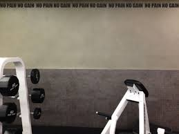work out home gym decor wall decal wall border no pain no