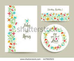 beautiful floral wedding card invitation template stock