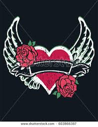 gothic heart wings roses tattoo stock vector 603866387 shutterstock