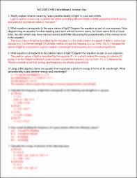 emr and quantum mechanics worksheet solutions fall 2009 ch301