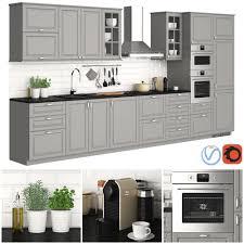 ikea bodbyn gray kitchen cabinets metod bodbyn gray 3d model