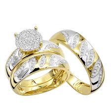 cheap rings images Cheap engagement rings and wedding band set in 10k gold his hers jpg