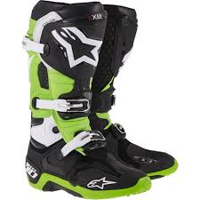 motocross boots alpinestars tech 10 motocross boots black green uk 7 us 8 euro 42 uk