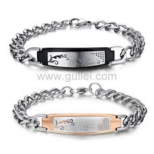 engraved married couples bracelets gift set personalized