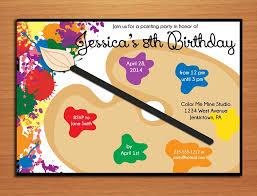 art birthday invitations painting palette artist customized printable birthday party