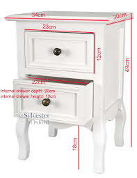 set of two small traditional style bedside table in white amazon