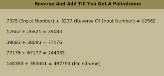 pattern with palindromic numbers how to reverse and add number until you get palindrome