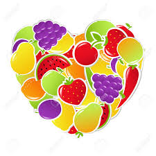 heart from fruit and vegetables vector illustration royalty free