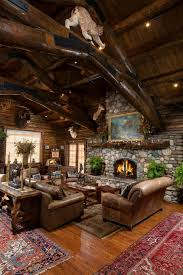 canapé cuir et bois rustique canapé fauteuil en cuir marron déco en bois insolite salon vaste