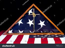 Flag Folded Into Triangle American Flag Encased Box Brass Praying Stock Photo 215291428