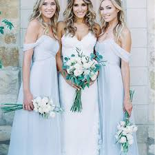 bridesmaid dresses mismatched different styles chiffon light blue floor length