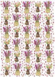 luxury wrapping paper yellow and pink pots and leaves pattern clash luxury wrapping