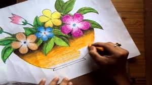 how to draw a flower vase with oil pastel long version youtube