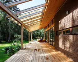attractive contemporary porch with glass roof extensions also