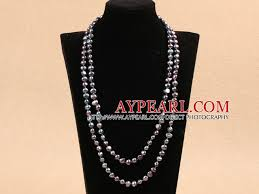 fashion black pearl necklace images Long style natural potato shape gray black pearl necklace best gift jpg