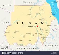 africa map khartoum sudan political map with capital khartoum national borders stock