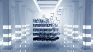 chambre virtuelle cube dans la chambre virtuelle photo stock image du lumière
