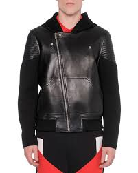 hooded motorcycle jacket saint laurent classic motorcycle jacket in black leather from