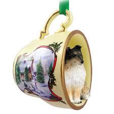 sheltie ornament figurine teacup tri color