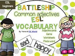 common adjectives games worksheets cards writing tasks esl