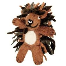 wool finger puppet porcupine ornament