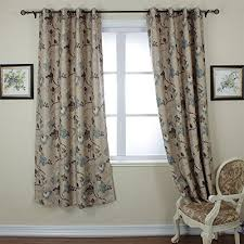 Vintage Floral Curtains Soft Microfiber Thermal Insulated Heating Against Grommet Top
