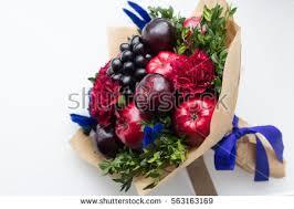 bouquet of fruits original edible bouquet berries fruits stock photo