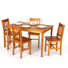 light brown ikayaa modern 5pcs wood kitchen dining table chairs