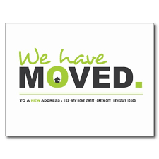 we moved green moving announcement postcard moving