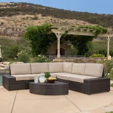 Brown Wicker Patio Furniture - reddington 6pc outdoor brown wicker sectional seating set u2013 gdf studio